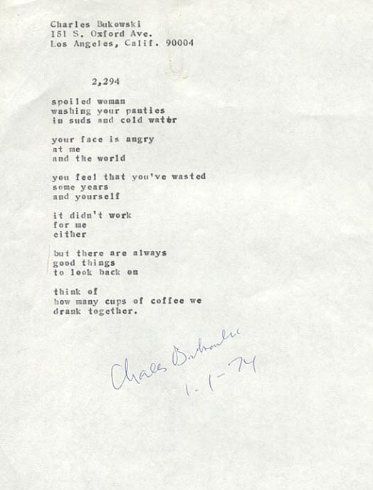 charles bukowski poem Having already written my 5 best charles bukowski poetry books, i thought it might be fun to do something similar, but this time do it with individual poems.