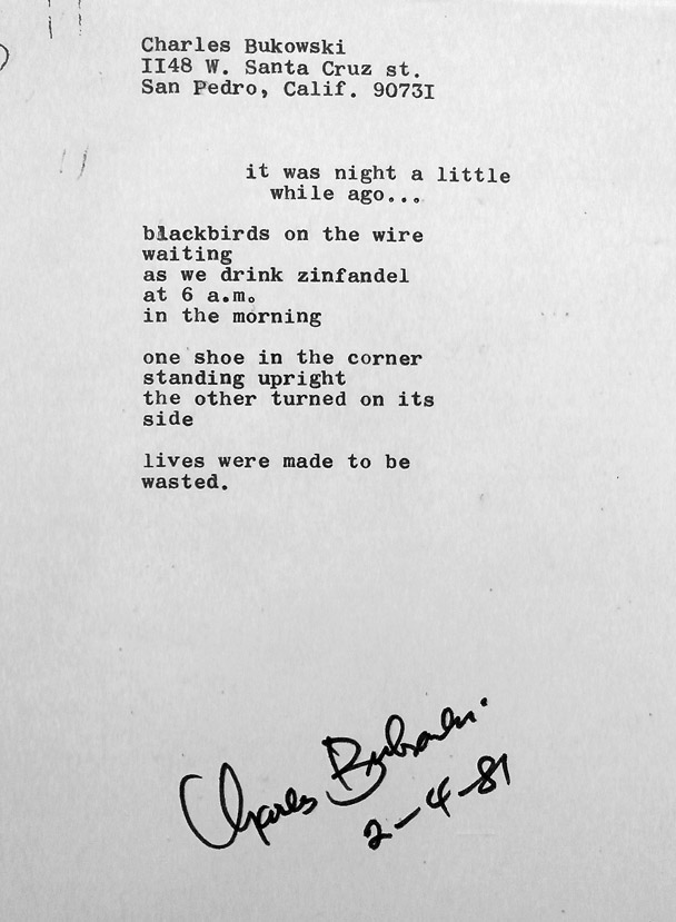 ebb3c082e Charles Bukowski poem manuscript: It Was Just A Little While Ago