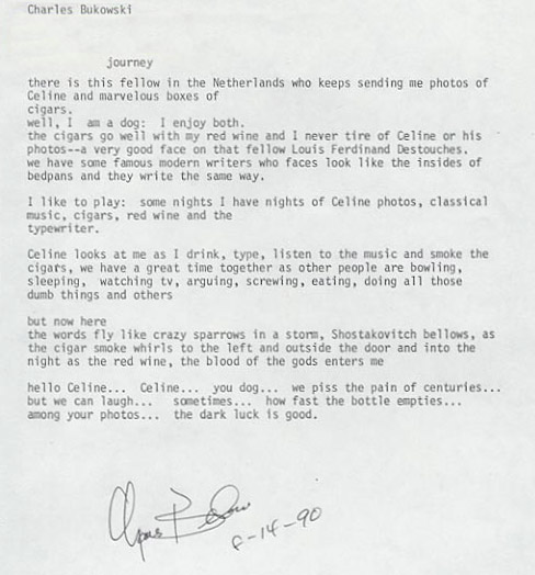 Charles Bukowski Poem Manuscript Journey To The End